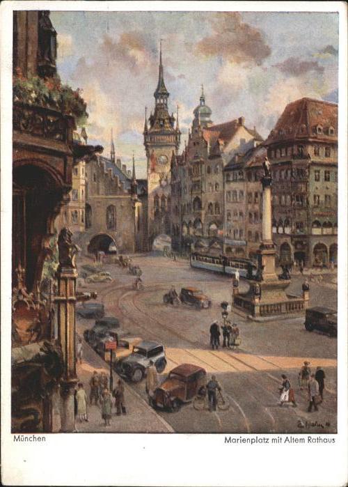 Muenchen Marienplatz Altes Rathaus Kuenstlerkarte Erich Hahn / Muenchen /Muenchen LKR