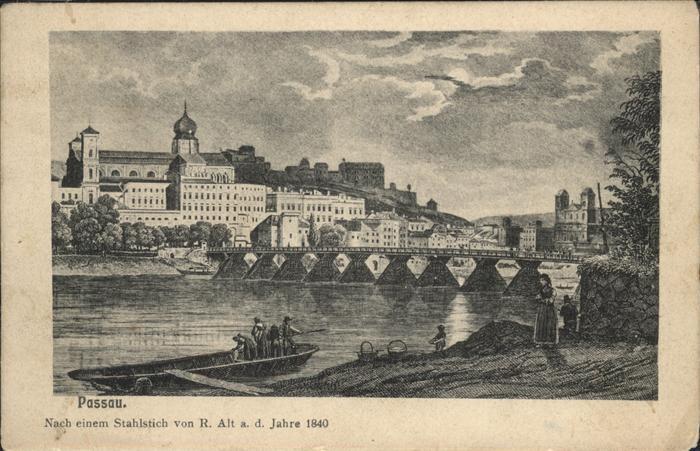 Passau Stahlstich R. Alt a. d. Jahre 1840 / Passau /Passau LKR