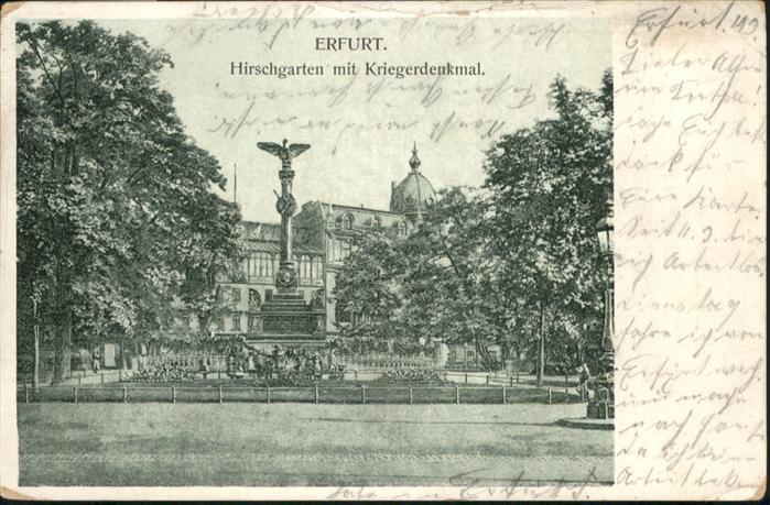 Erfurt Hirschgarten Kriegerdenkmal / Erfurt /Erfurt Stadtkreis