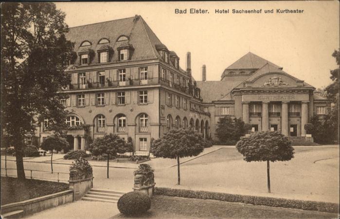 wq77141 Bad Elster Vogtland Bad Elster Hotel Sachsenhof Kurtheater x Kategorie. Bad Elster Alte Ansichtskarten