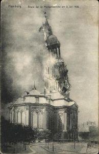 Hamburg Brand der St Michaeliskirche am 3 Juli 1908 Kat. Hamburg