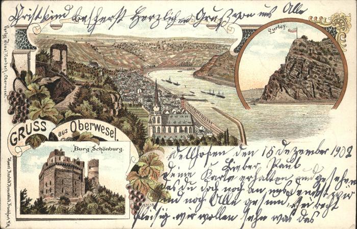 Oberwesel Rhein Burg Schoenburt Rhein / Oberwesel /Rhein-Hunsrueck-Kreis LKR
