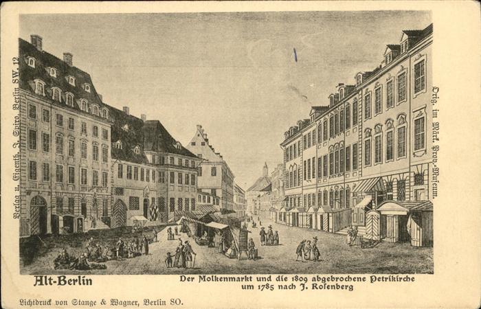 Berlin Alt-Berlin Molkenmarkt Petrikrche 1785 Kat. Berlin