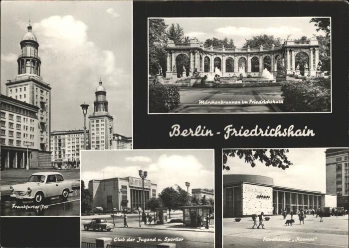 Berlin Friedrichshain Auto Filmtheater Kosmos Frankfurter Tor Maerchenbrunnen  Kat. Berlin