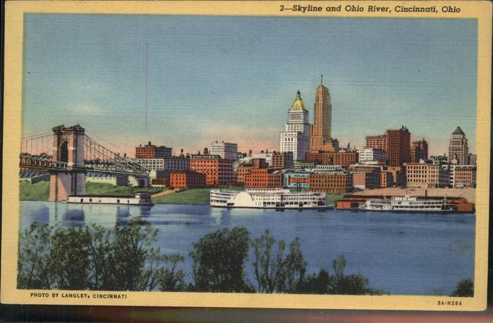 Cincinnati Ohio Skyline Ohio River Kat. Cincinnati