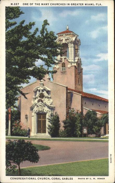 Miami Florida Congregational Church Coral Gables Kat. Miami