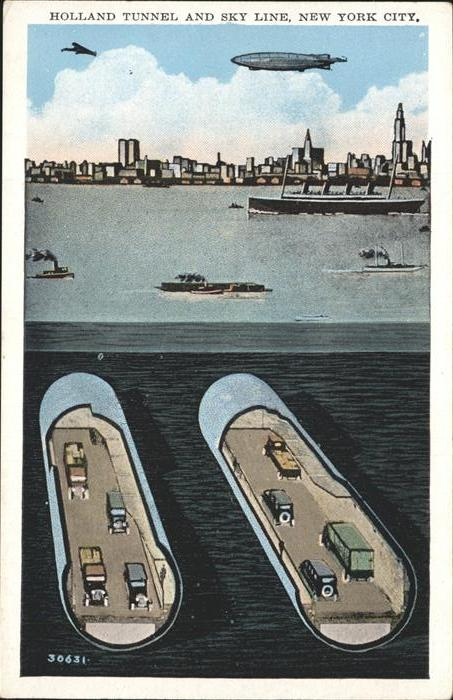 New York City Holland Tunnel and Skyline NY City / New York /