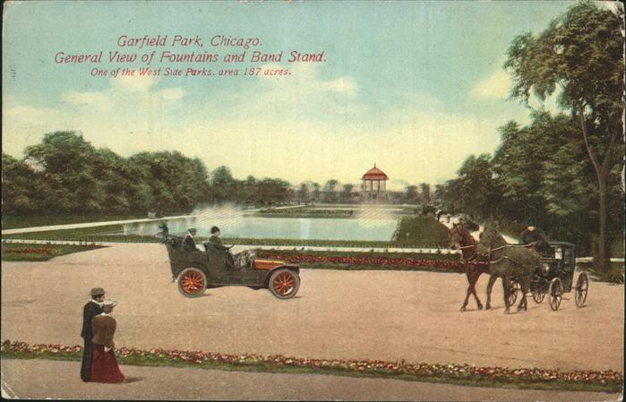 Chicago Park Garfield Park   General View of Fountains and Band Stand Kat. Chicago Park