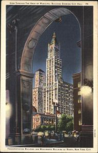 New York City Transportation Building and Woolworth Building at Night / New York /