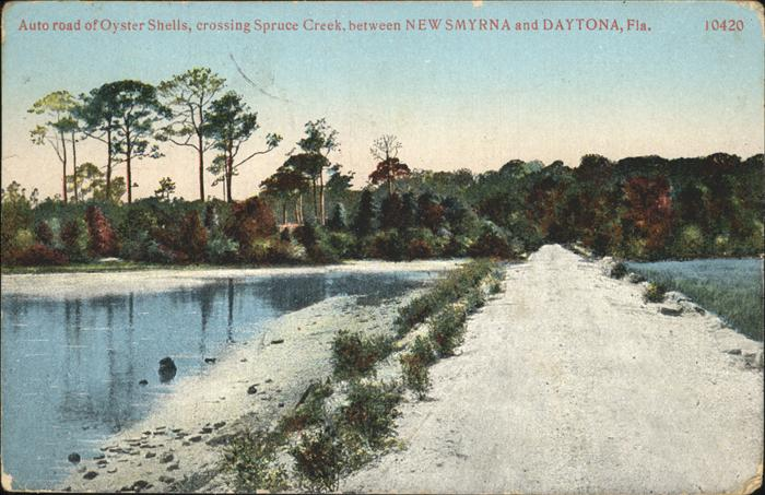 New Smyrna Beach Auto road of Oyster Shells crossing Spruce Creek Kat. New Smyrna Beach
