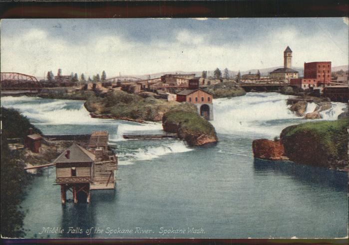 Spokane Washington Middle Falls Spokane River Kat. Spokane