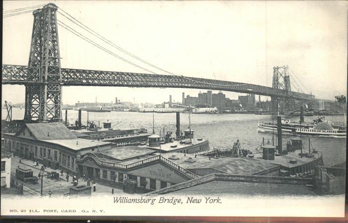 New York City Williamsburg Bridge Schiffe Hafen / New York /