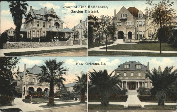 New Orleans Louisiana Group of fine Residences Garden District Kat. New Orleans