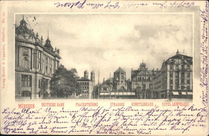 Synagoge Muenchen Bank Frauentuerme Kuenstlerhaus Hotel / Gebaeude /