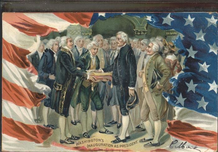 Persoenlichkeiten George Washington inauguration as President USA Praegedruck / Persoenlichkeiten /