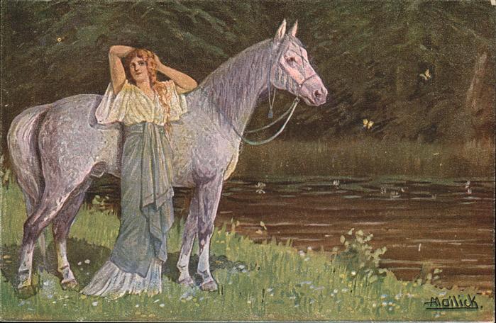 Mailick Pferd Schimmel Frau Waldtraut / Kuenstlerlitho /