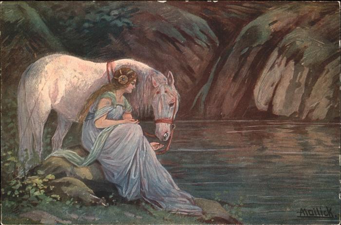 Mailick Pferd Schimmel Frau Waldfee / Kuenstlerlitho /
