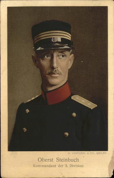 Soldatenportrait Oberst Steinbuch Kommandant der 5 Division Kat. Militaria