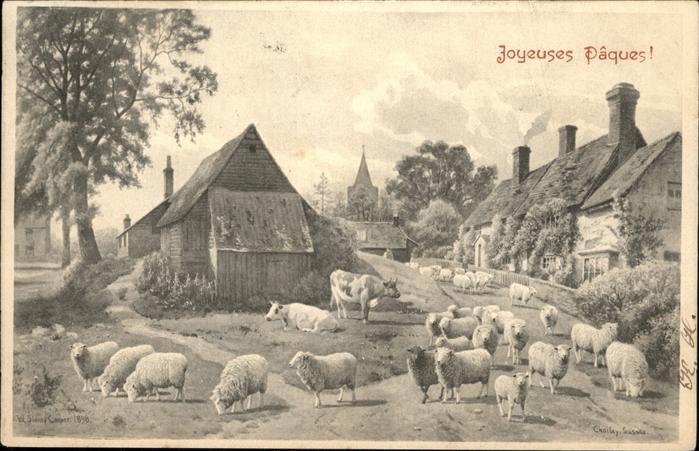 Schafe Kuehe Joyeuses Paques Kat. Tiere