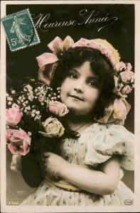 kk22140 Baby Nursery Bebe Blumen Heureuse Annee Kategorie. Kinder Alte Ansichtskarten