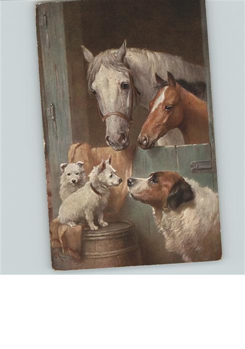 Tiere Pferde Hunde Kuenstlerkarte Kat. Tiere
