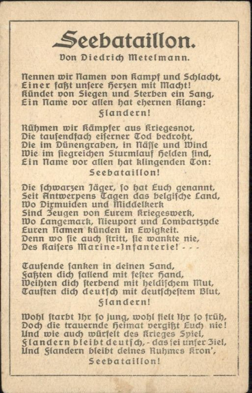 Liederkarte Seebataillon Diedrich Metelmann / Musik /