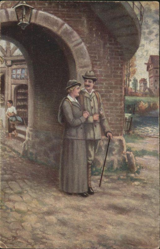 Kuenstlerkarte R. de Witt Hochzeitsreise Poesie / Kuenstlerkarte /