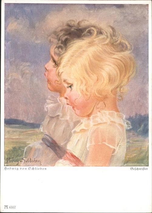 Kuenstlerkarte Hedwig von Schlieben Kinder Geschwister / Kuenstlerkarte /