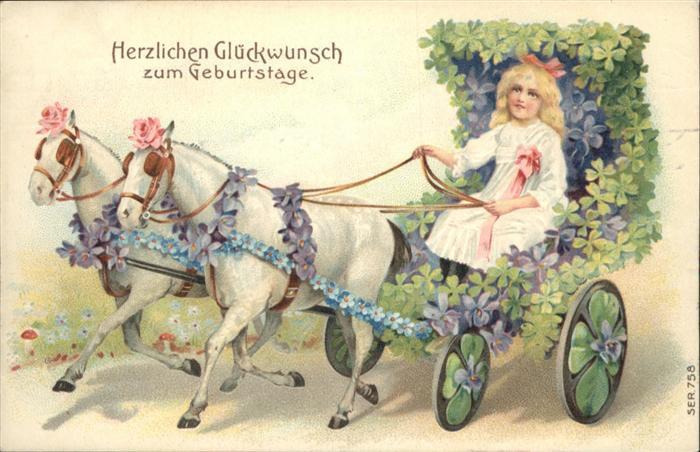 Kutschen Pferde Blumen Kind Maedchen Geburtstag Landwirtschaft