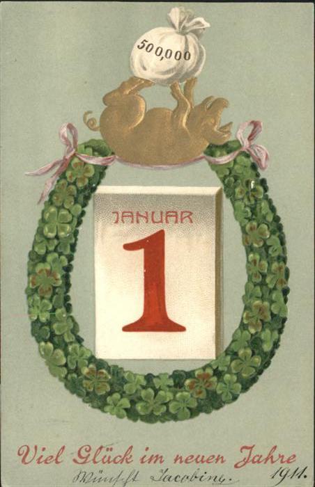 Neujahr Schwein Hufeisen Kalender / Greetings /