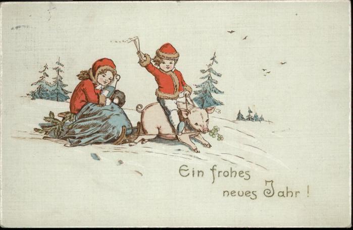 Neujahr Schwein Kinder Sekt Schlitten / Greetings /
