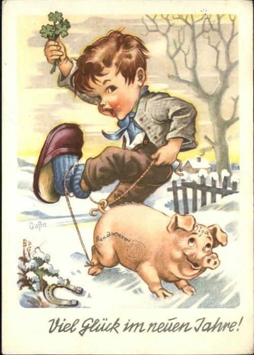 Neujahr Schwein Kind Junge Greetings Nr Wp92693 Oldthing