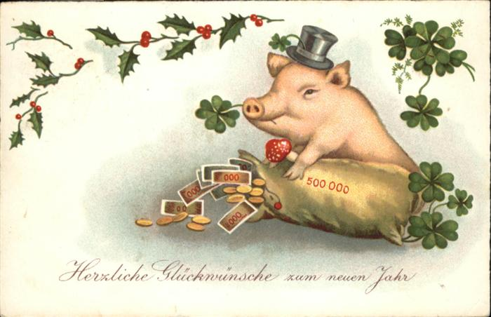 Neujahr Schwein Kleeblaetter Geld Greetings Nr Wp98181