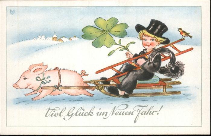 Schornsteinfeger Neujahr Schwein Schlitten Kleeblatt