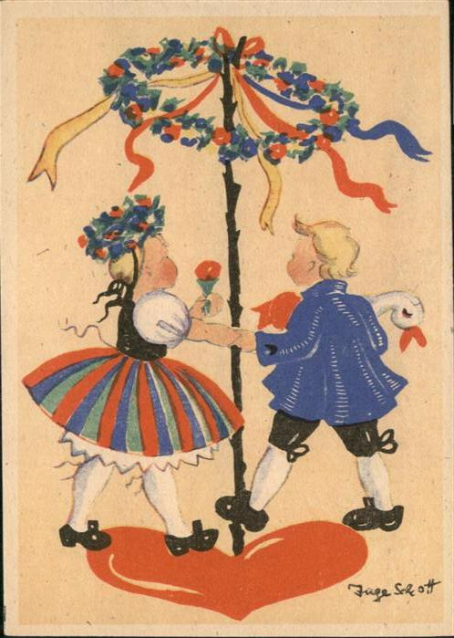 Kuenstlerkarte Inge Schott Tanzen Trachten Kinder