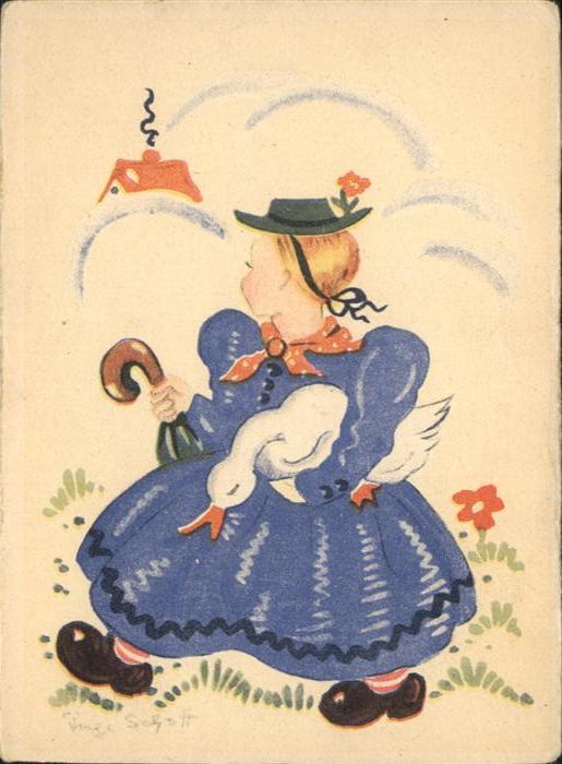 Kuenstlerkarte Inge Schott Kind Maedchen Gans