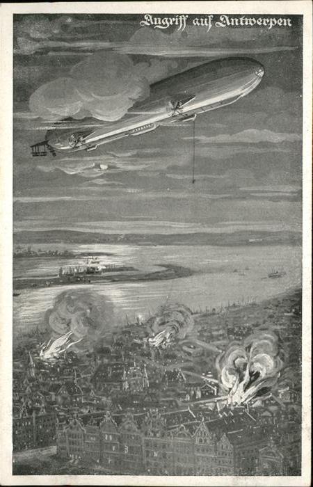 Zeppelin Angriff Antwerpen Deutsche Luftflotte Kat. Flug