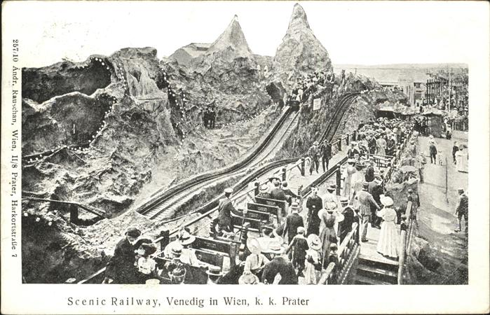 Achterbahn Scenic Railway Venedig in Wien Prater Kat. Kirmes
