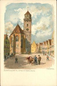Kraemer F. Donauwoerth Stadtpfarrkirche Nr. 1821 Kat. Kuenstlerlitho