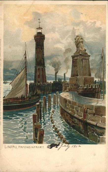 Diemer Zeno Litho Lindau Hafeneinfahrt Nr. 1757 Kat. Kuenstlerkarte