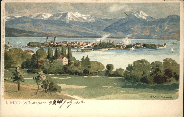 Diemer Zeno Litho Lindau im Bodensee Nr. 1871 Kat. Kuenstlerkarte