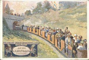 Liliputbahn Verkehrsausstellung Muenchen Kuenstlerkarte  Kat. Eisenbahn