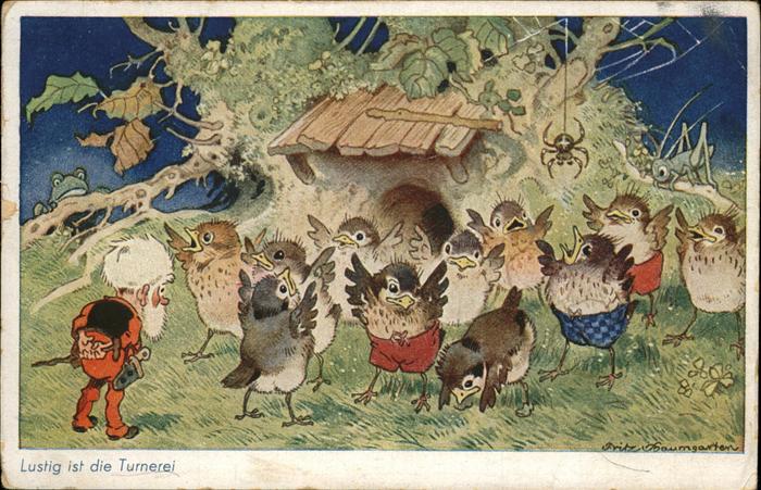 Kuenstlerkarte Fritz Baumgarten Turnerei Voegel Kat. Kuenstlerkarten