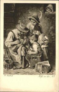 Kuenstlerkarte H Kaulbach Hilfe in der Not Kat. Kuenstlerkarten