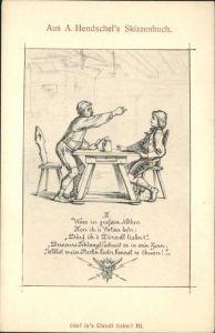 Kuenstlerkarte A Hendschels Skizzenbuch Kat. Kuenstlerkarten