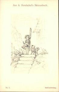 Kuenstlerkarte A Hendschels Skizzenbuch Stellvertretung Kat. Kuenstlerkarten