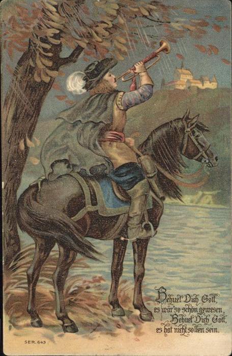 Trompeter Pferd Praegedruck Kat. Musik