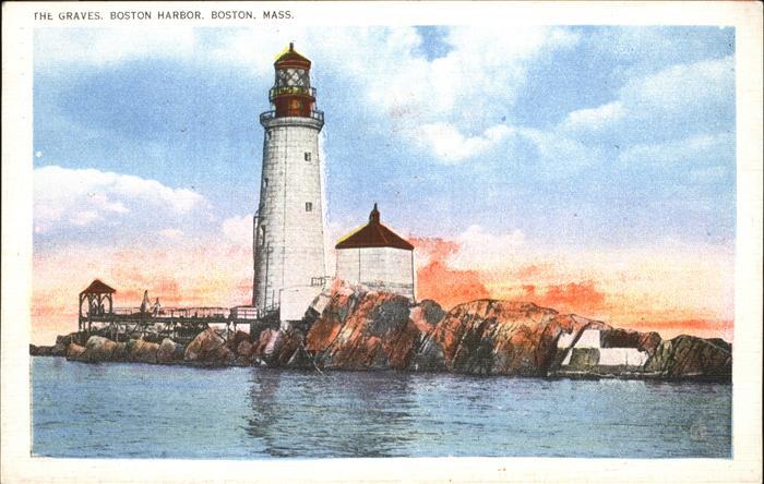 Leuchtturm = Lighthouse Graves Boston Harbor Kat. Gebaeude