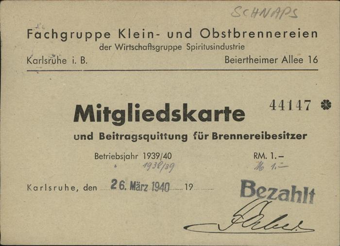 Schnaps Mitgliedskarte Brennerei Karlsruhe Kat. Genussmittel