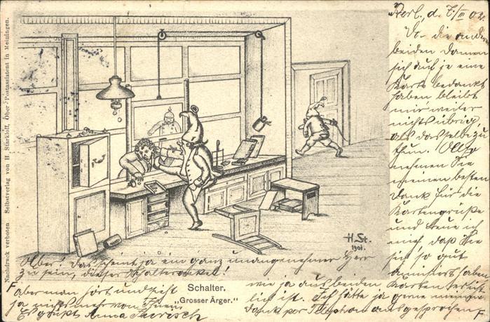 Kuenstlerkarte H Starkloff Zwerge Schalter aerger Kat. Kuenstler